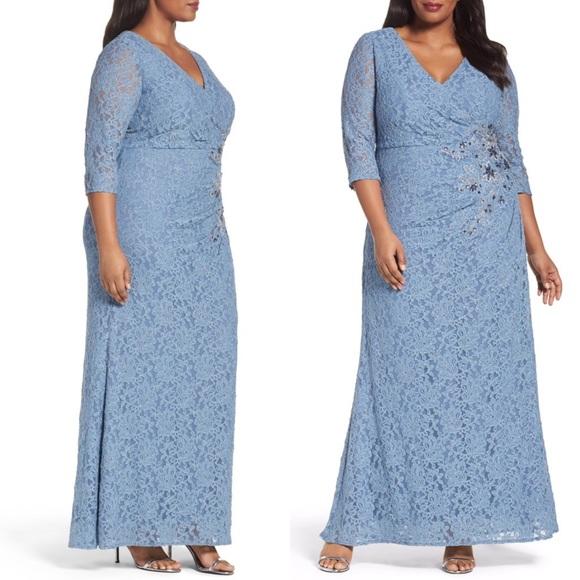 Alex Evenings Dresses Long Illusion Plus Size Gown Poshmark